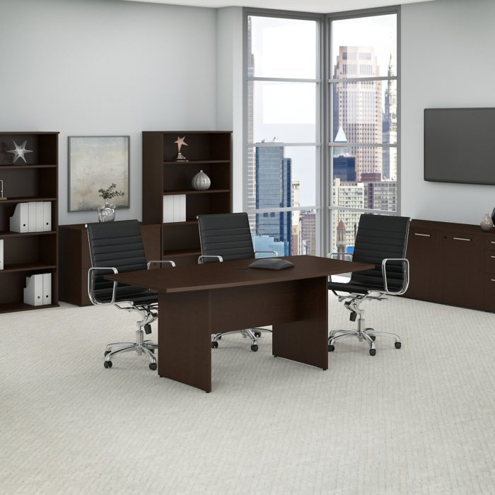 Bush Business Furniture 72W x 36D Boat Shaped Conference Table with Wood Base