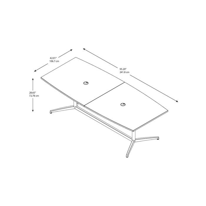 Bush Business Furniture 96W x 42D Boat Shaped Conference Table with Metal Base