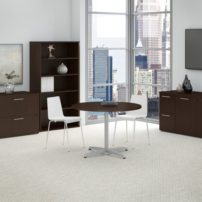 Bush Business Furniture 42W Round Conference Table with Metal X Base
