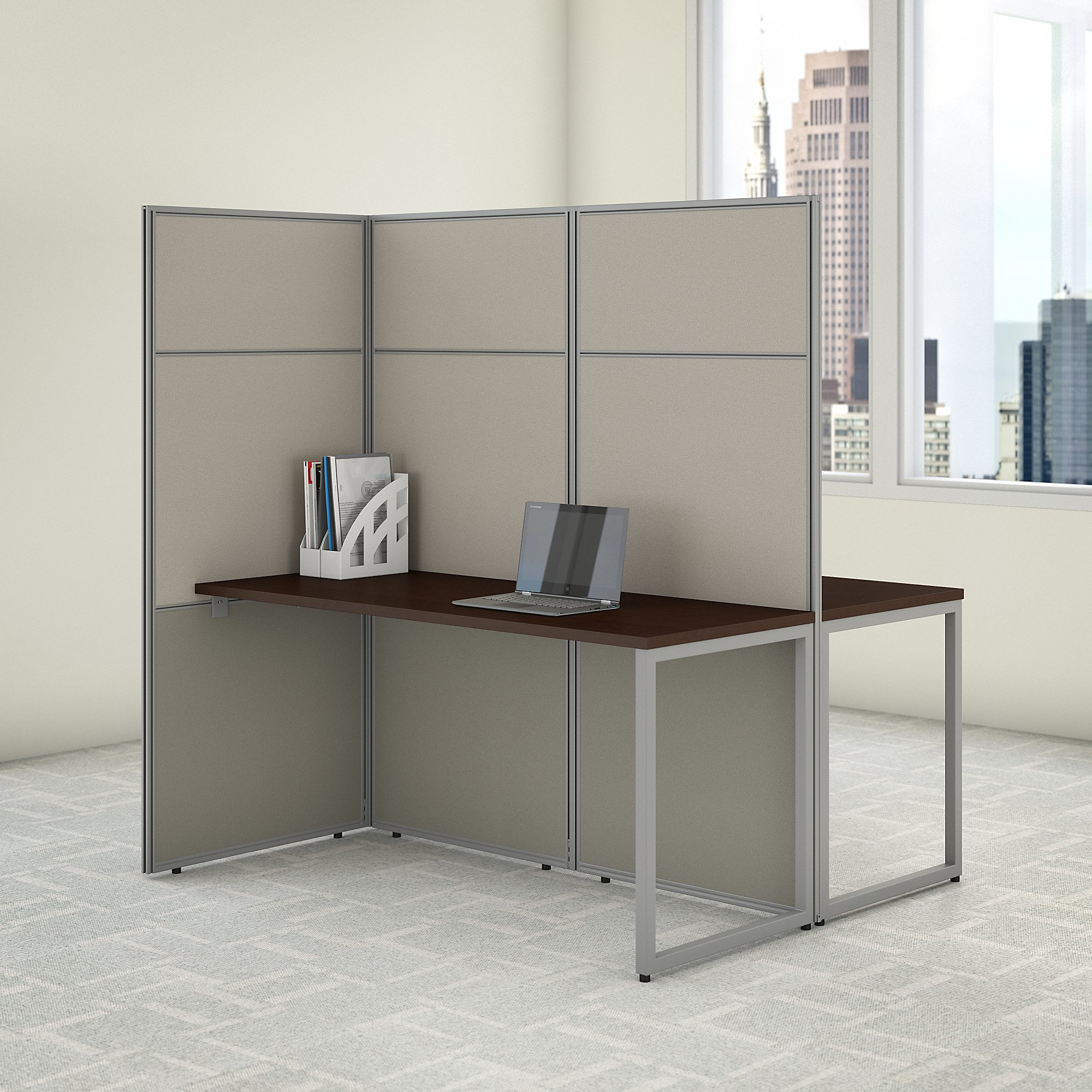bush business furniture easy office 60w 2 person cubicle