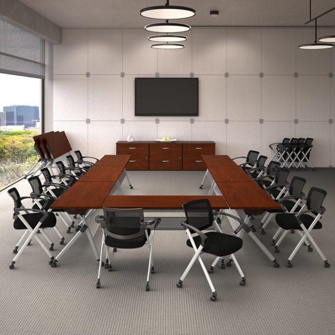bbf folding training table, hansen cherry, 60w x 24d