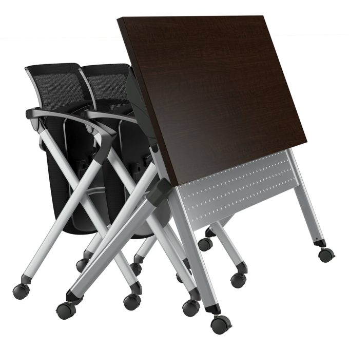 bbf folding training table, 60wx24d mocha cherry